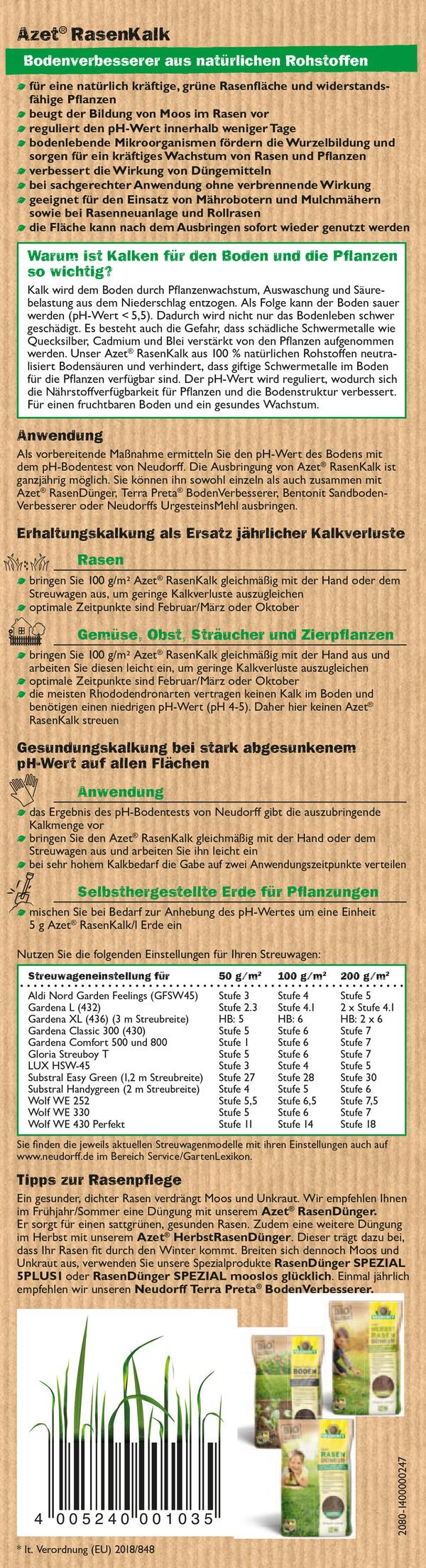 Neudorff Azet® Rasen Kalk, 10 kg