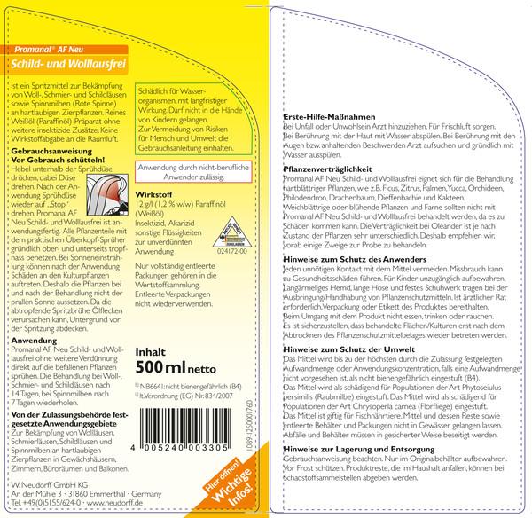 Neudorff Promanal® AF Neu Schild- und Wolllausfrei, 500 ml