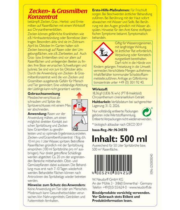 Neudorff Zecken- & Grasmilbenkonzentrat, 500 ml