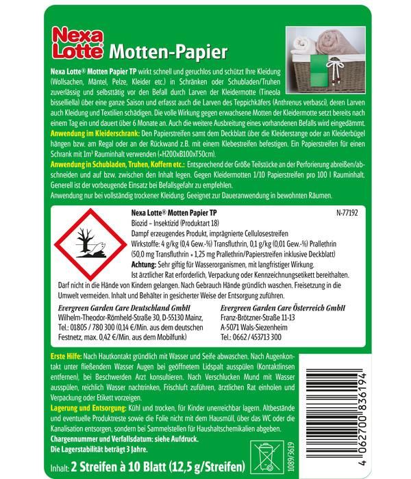 Nexa Lotte® Motten-Papier, 2 Stück