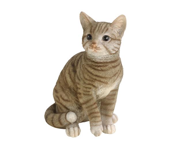 Polyresin Katze, grau getigert