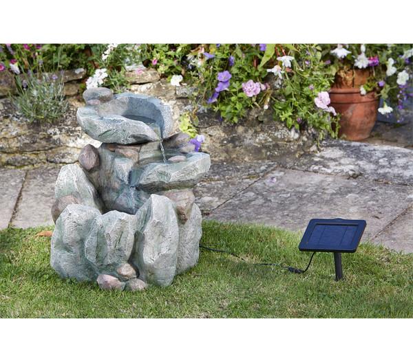 Polyresin-Gartenbrunnen Felsbecken mit Solar, 51 x 54 x 51 cm