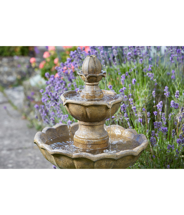Polyresin-Gartenbrunnen Kingsbury mit Solar, ca. Ø48,3/H97,8 cm