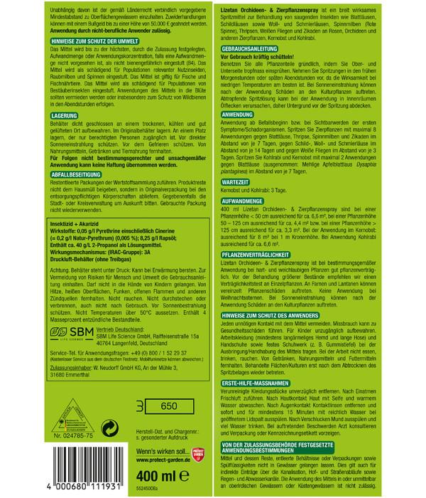 PROTECT GARDEN Lizetan Orchideen-& Zierpflanzenspray, 400 ml