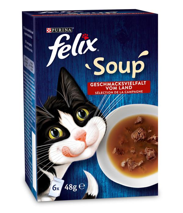 PURINA felix® Katzensnack SOUP Geschmacksvielfalt vom Land