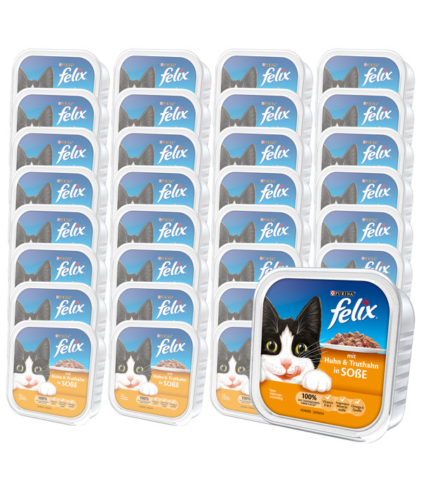 PURINA felix® Nassfutter Leckerbissen in Sauce, 32 x 100g