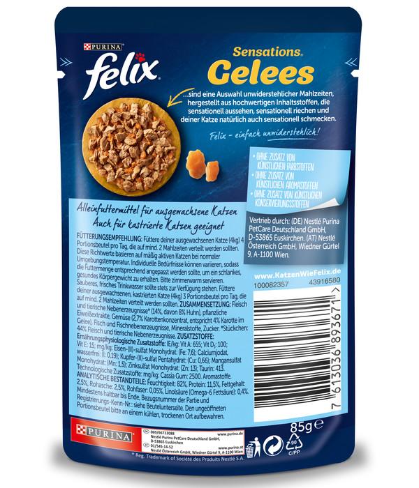 PURINA felix® Nassfutter Sensations Gelees, 24 x 85 g