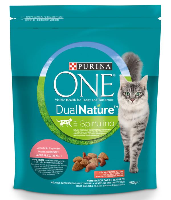 PURINA® ONE Trockenfutter DualNature kastrierte Katzen, Lachs