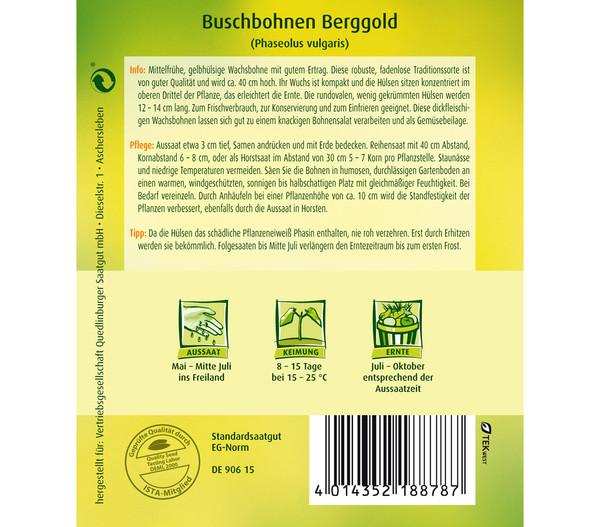 Quedlinburger Samen Buschbohne 'Berggold'