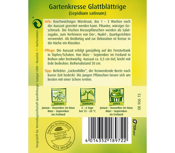 Quedlinburger Samen Gartenkresse 'Glattblättrige'