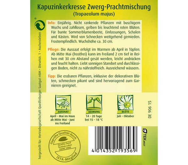 Quedlinburger Samen Kapuzinerkresse 'Zwerg-Prachtmischung'