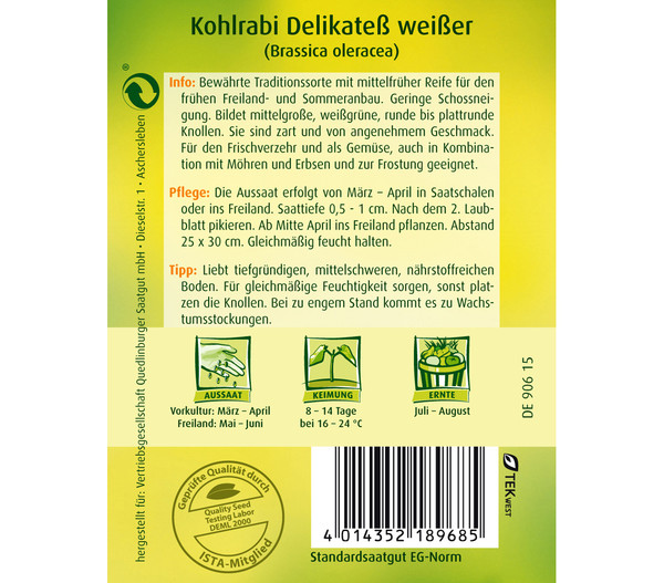 Quedlinburger Samen Kohlrabi 'Delikateß Weißer'