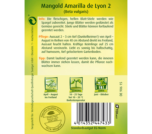 Quedlinburger Samen Mangold 'Amarilla De Lyon 2'