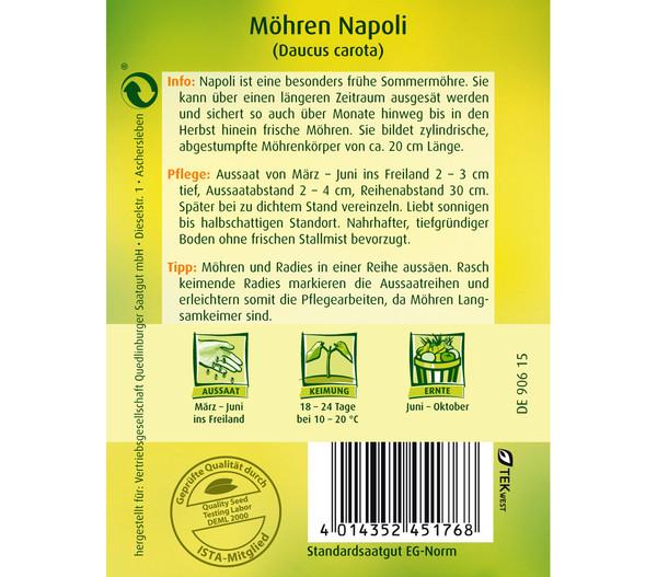 Quedlinburger Samen Möhren 'Napoli'