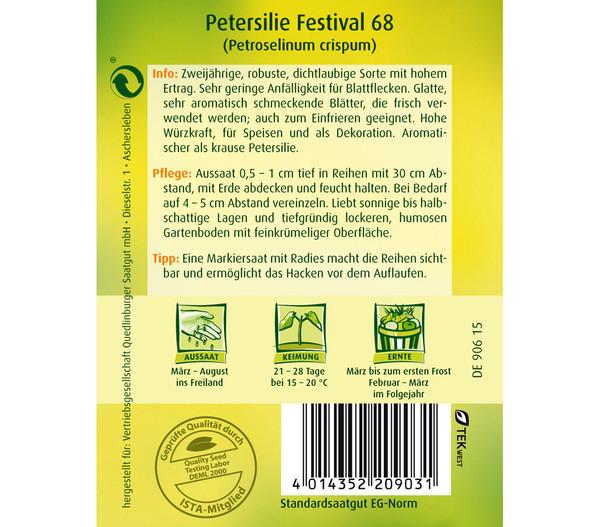 Quedlinburger Samen Petersilie 'Festival 68'