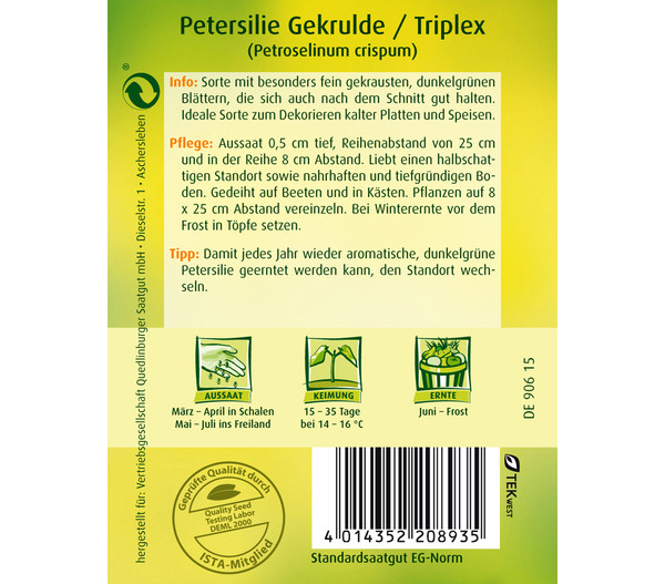 Quedlinburger Samen Petersilie 'Gekrulde/Triplex'