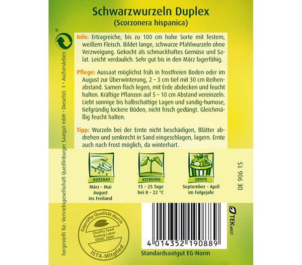 Quedlinburger Samen Schwarzwurzel 'Duplex'