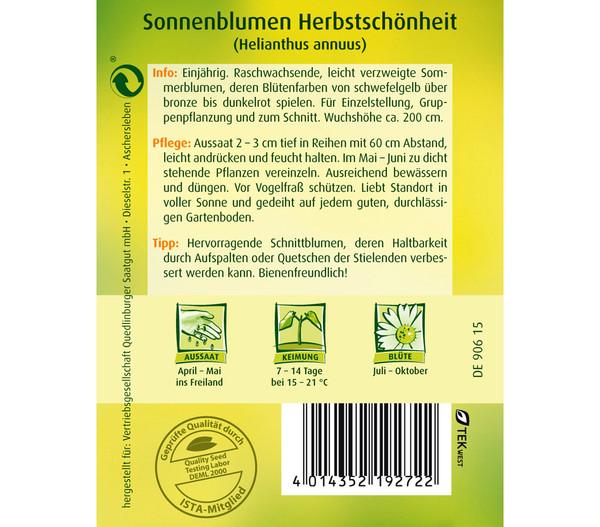 Quedlinburger Samen Sonnenblume 'Herbstschönheit'