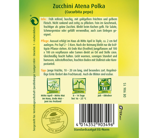 Quedlinburger Samen Zucchini 'Atena Polka'
