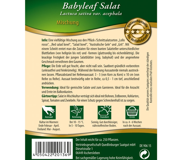 Quedlingburger Samen Salat 'Babyleaf'