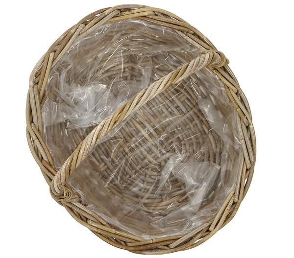 Rattan-Korb mit Henkel, braun, 46 x 39 x 18 cm