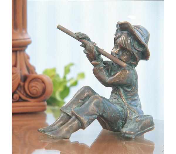 Rottenecker Bronze-Flötenspieler Hans, 17 x 14,4 x 15 cm