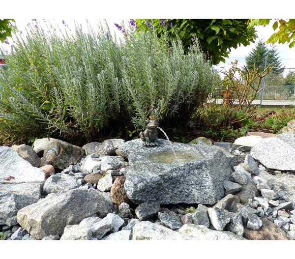 Rottenecker Granit-Gartenbrunnen Froschkönig Otto, 25 x 40 x 20 cm