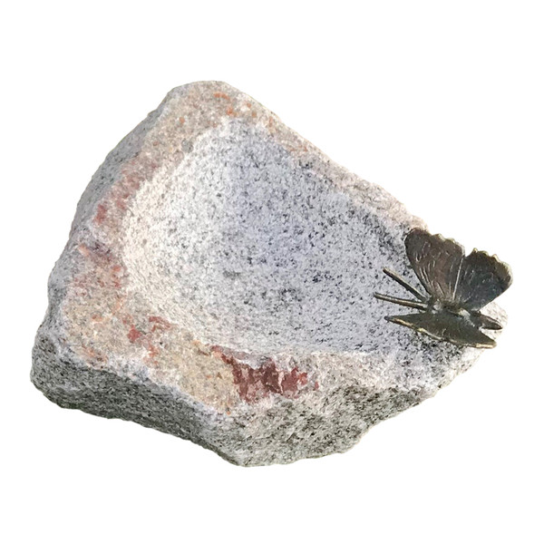Rottenecker Granit-Tränke mit Schmetterling, ca. B20/H13/T30 cm