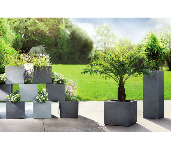 Scheurich Kunststoff-Topf C-Cube, stony black