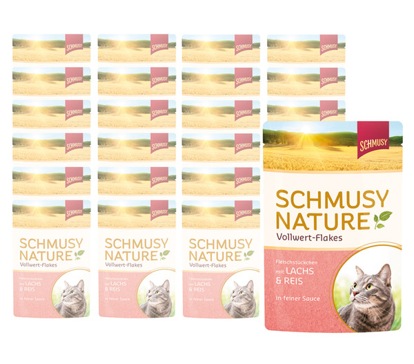 Schmusy Nature Vollwert-Flakes in Sauce, Nassfutter, 22 x 100g