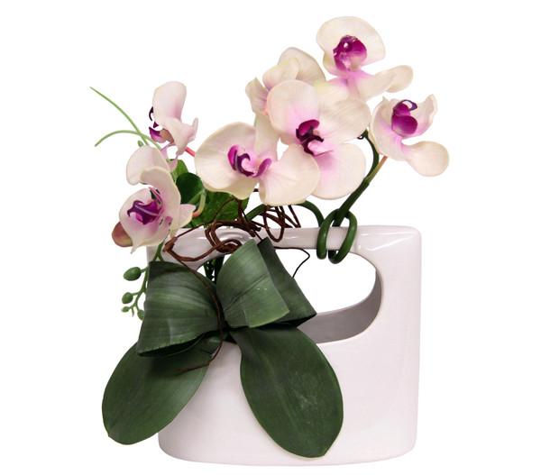 Seidenblume Weiße Orchidee in Keramik-Vase