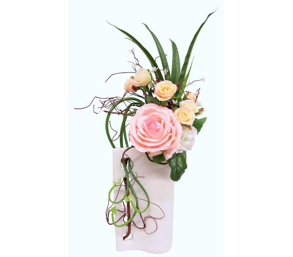 Seidenblumen-Arrangement Rosen in einer Vase