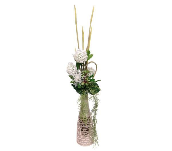 Seidenblumen-Arrangement Schneeball und Protea