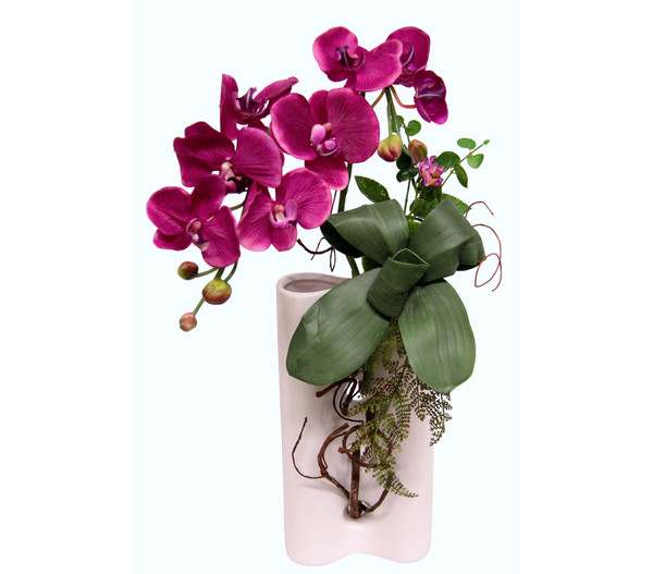 Seidenblumen-Gesteck Violette Orchidee in Keramik-Vase