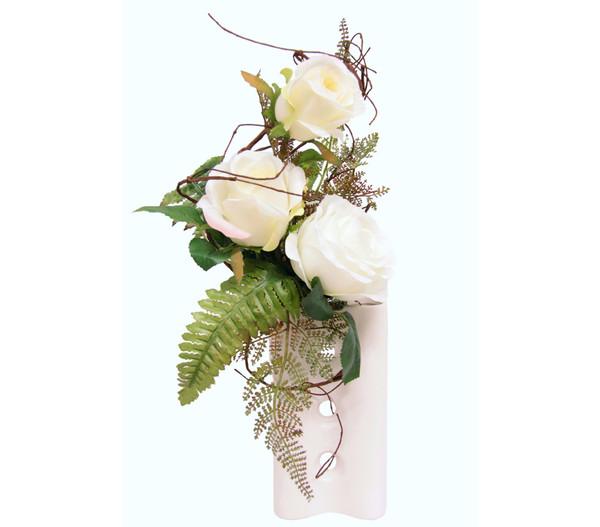 Seidenblumen-Gesteck Weiße Rosen