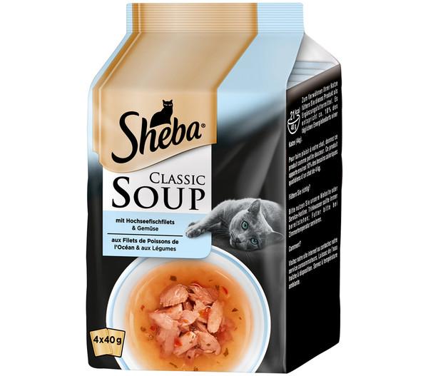Sheba Classic Soup Hochseefisch Multipack, Nassfutter, 4x40g
