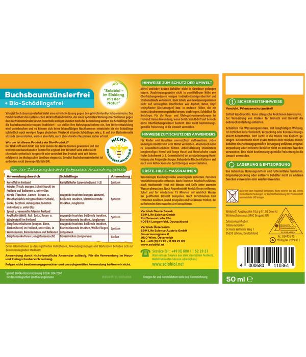 Solabiol® Buchsbaumzünslerfrei + Bio-Schädlingsfrei, 50 ml