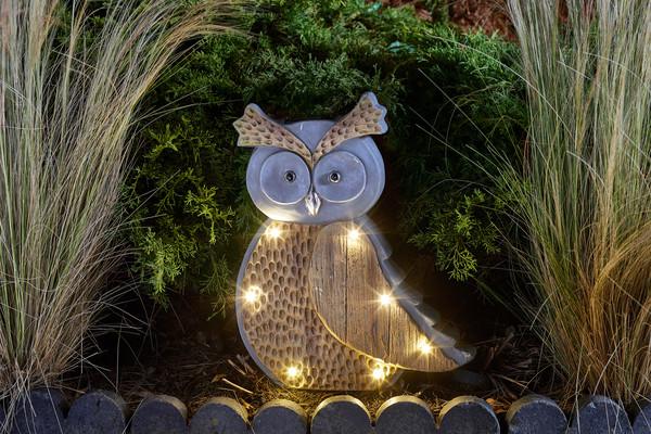 Solar-Holzstein Eule 'Hedwig'