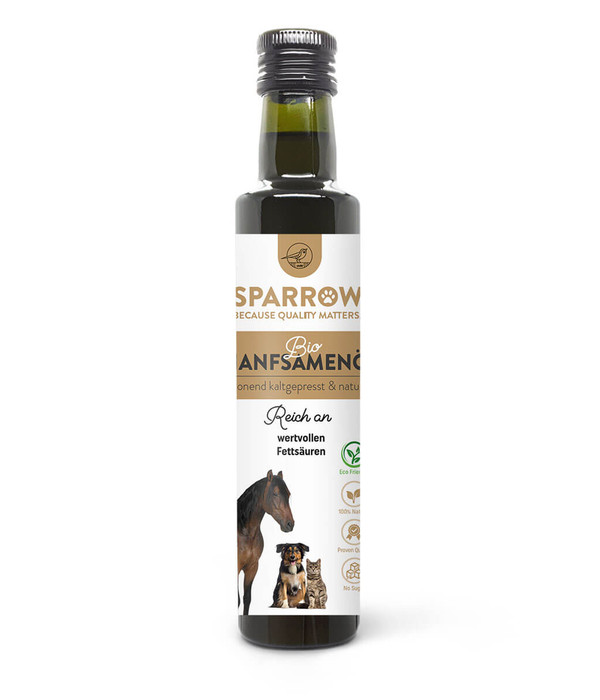 SPARROW Pet Ergänzungfutter Bio Hanfsamenöl für Tiere