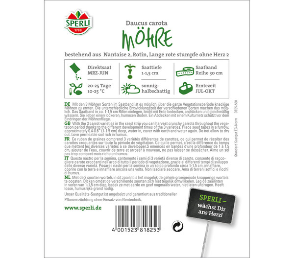 SPERLI Saatband Möhren-Sortiment, 3 Sorten
