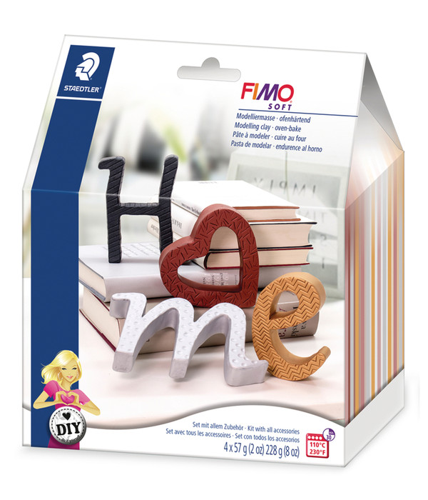 Staedtler Modelliermasse Fimo Soft Buchstaben, DIY-Set