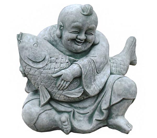 Stein-Buddha mit Koi, 35 x 25 x 35 cm