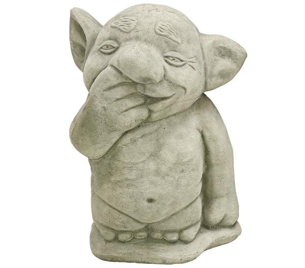 Stein-Troll Finger in der Nase, antik grau-grün, 10 x 10 22 cm