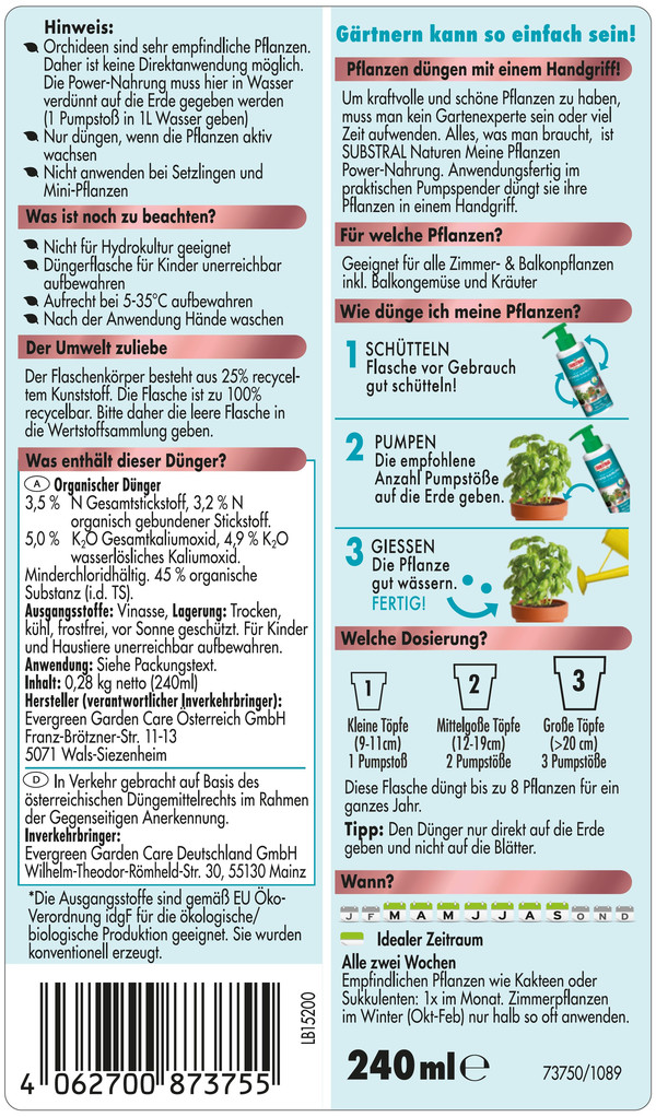 Substral® Naturen® Meine Pflanzen Power-Nahrung für Zimmer- und Balkonpflanzen, 240 ml
