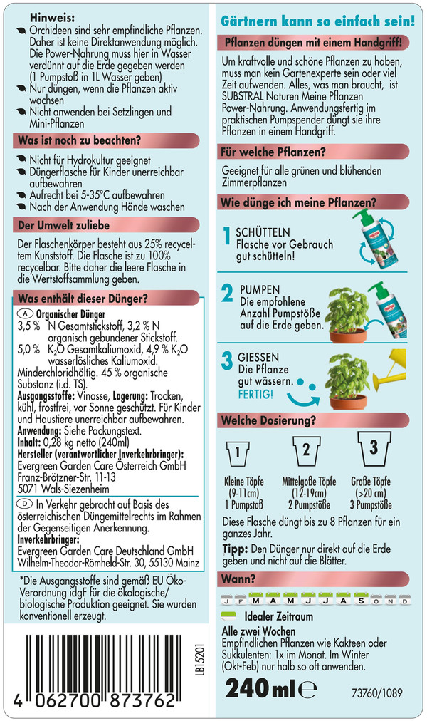 Substral® Naturen® Meine Zimmerpflanzen Power-Nahrung für Grün- und Blühpflanzen, 240 ml