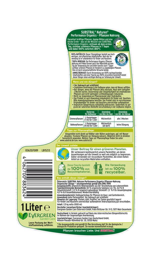 Substral® Naturen® Performance Organics™ Zimmer-, Balkon- & Garten-Pflanzennahrung, 1 l