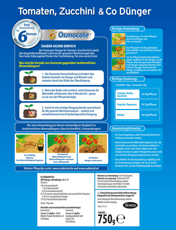 Substral® Osmocote® Tomaten, Zucchini & Co Dünger, 750 g
