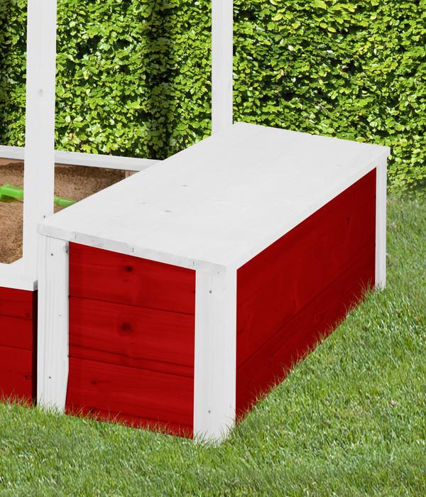 Tabaluga Schatztruhe für Sandkasten, rot/weiß