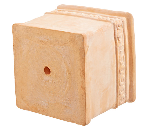 Terrakotta-Topf, quadratisch, mit Dekor