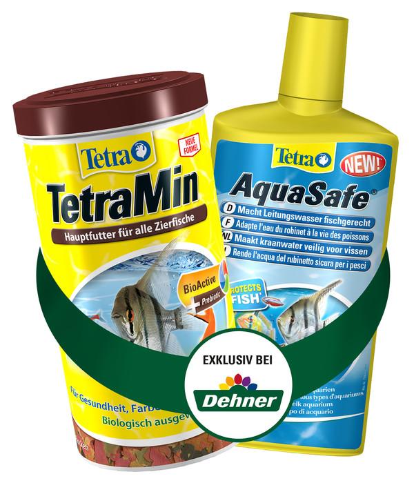 Tetra TetraMin Fischfutter, 1000 ml & AquaSafe Wasseraufbereiter, 500 ml
